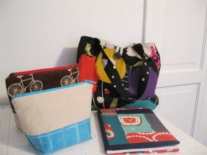 Zipper pouches, covered journal books