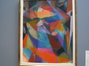 "Inspiration piece from the Toledo Museum of Art by Stanton MacDonald-Wright titled ""Syncromy Blue Green"""